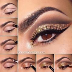 Tutorial Bronze and Gold smokey eye for Brown eyes by earnestine