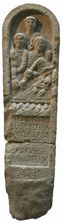 Galician Celtic Stele: Apana · Ambo/lli · f(ilia) · Celtica /Supertam(arica) · / [j] Miobri · /an(norum) · XXV · h(ic) · s(ita) · e(st) · /Apanus · fr(ater) · f(aciendum)· c(uravit