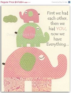 Baby Girl Nursery Wall Art Print, Baby Girl Room Decor, Baby Girl Pink and Green elephant Nursery, green Pink and Sage on Etsy, $13.60