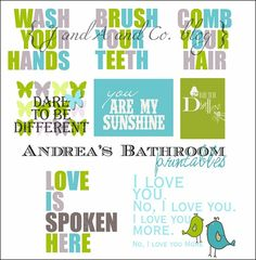 Bathroom printables (also have some in all green)...