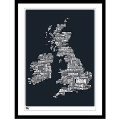 Buy Bold & Noble British Isles Map Framed Silkscreen Print, 63 x 83cm Online at johnlewis.com