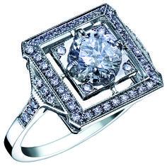 Bague Art Deco LEAH Or Blanc et Diamants. Bague ancienne. #bague #artdeco #orblanc #diamants #ancienne #bijoux #luxe #valeriedanenberg