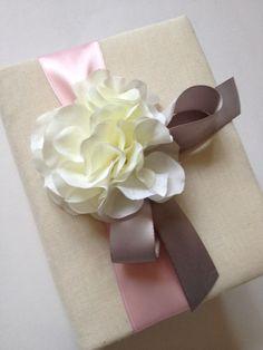 Pink and Gray Wedding Photo Album - White Hydrangeas - Pink and Gray Ribbon