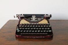 Exquisite 1930s Maroon Gold Corona 4 Portable Typewriter
