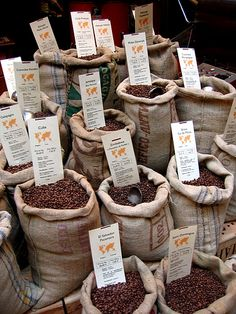 Coffee Beans for sale in a little Parisian Shop