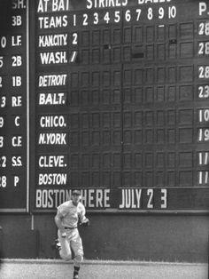 Scoreboard at Griffith Stadium During Game Premium Photographic Print at AllPosters.com
