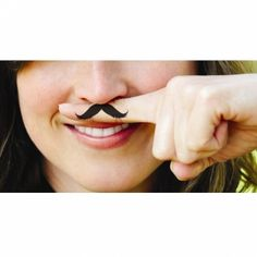 Adorable! - Fingerstache Temporary Tattoos.  Wouldn't this be funny to do when someone HAS to keep a straight face.