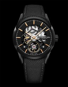 The Raymond Weil Freelancer Calibre RW1212 Skeleton, stainless steel with black PVD coating, black galvanic dial, and rose-gold PVD on the hands and indices, on a black calf leather strap. For more information, visit us at WatchTime.com. #raymondweil #raymondweilwatches #watchtime #skeletonwatch #skeletonwatches #baselworld2018