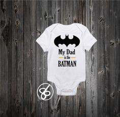 My Dad is the Batman Baby Onesie and Kids Shirt - Batman Bodysuit - The Dark Knight Onesie - Fathers Day Onesie - www.babies-clothe...