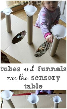 Make a box over the sensory table for tubes and funnels #autism #aspergers | www.autismbehaviortraining.com