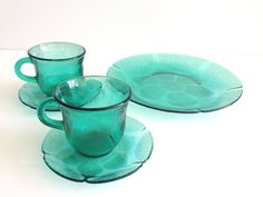 Vintage 'Fortecrisa' Forest Teal Glass Tea set -  Daisy Floral Pattern - set of 7  - Made in Mexico on Etsy, $39.00