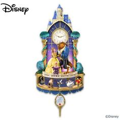 Beauty and the Beast Happily Ever After Disney Wall Clock, Bradford Exchange