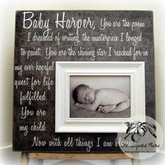 Baptism Gift Personalized Picture Frame Custom 16x16 You Are THE POEM Baby Shower Christening First Birthday Godparents New