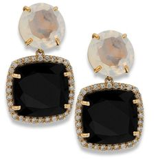 18k Rose Gold Earrings With Black and Opal Quartz & Diamonds ($3,375) ❤ liked on Polyvore featuring jewelry, earrings, quartz jewelry, diamond earrings, 18 karat gold earrings, earring jewelry and 18k earrings