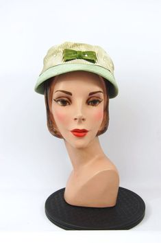 407f3a3a37c 50s mint green hat - vintage 50s hat - Mid Late 50s Olive Green Sage Green  Bucket Hat Pillbox Pearl