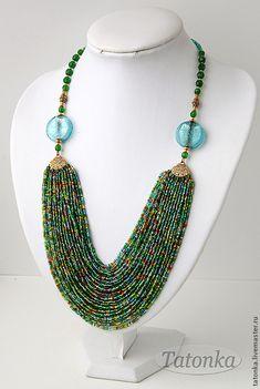 "Колье ""Заморское"" - колье из бисера,авторские украшения,бисерные нити  Pinned by @Manaro Design  Jewelry | Beading | Bracelet | Necklace | Earrings"