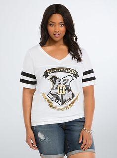 Plus Size Hogwarts Shield Football Tee, WHITE