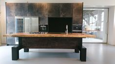 Kitchen with leather cabinets.  Custom made by JP Walker Work area: europe www.jpwalker.nl  #design #leather #kitchens #custom made #dutch design #interior design #hand made www.jpwalker.nl