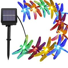 30 Led Solar Outdoor Dragonfly Lights Outside String Lighting 8 Mode Steady Flash Waterproof Fairy Decorations For Patio Garden Yard Fence Christmas Tree
