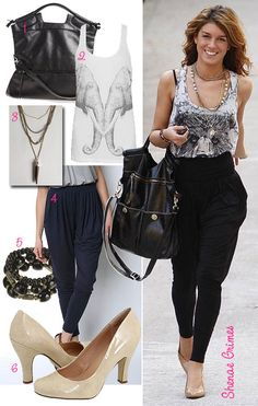what to wear with harem pants   ... the celebrity star style of Shenae Grimes in harem pants for less
