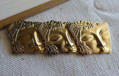 SOLD Three Ladies Faces Gold Tone Brooch Pin By JJ Jonette Jewelry Co Art Deco Style  #JJJonetteCo