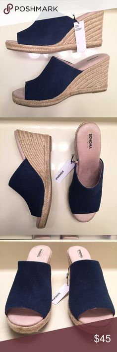 NEW Sonoma dark blue rope wedge clogs size 9 Brand new, never worn and still with tags and original box. Dark blue rope wedge clogs by Sonoma. Leather upper and extremely soft, comfortable foot padding for support. Women's size 9 Sonoma Shoes Mules & Clogs