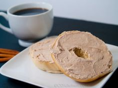 This simple spread is made with cream cheese that is mixed with cinnamon and brown sugar.