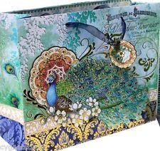 pUNCH sTUDIO Horizontal Jewel Dimensional Large Gift Bag- Cherry Blossom Peacock