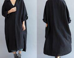 Robe femme ample Long lin / asymétrique surdimensionné robe