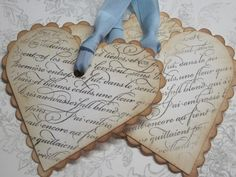 Vintage Shabby Chic Tags - French Script Scalloped Heart Tags - Vintage Appearance - set of 5. $8.00, via Etsy.
