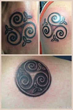 Triskele - three sisters tattoo.  Top left - sister's foot.  Top right - sister's shoulder.  Bottom - my back.  By Fred Palmer at No Egrets in Clarksville, TN