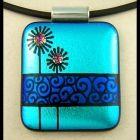 Original dichroic glass pendant Bubble Flowers SRA