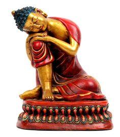 Figura buda dormido realizada en cerámica decorada por artesanos tibetanos. altura de 25cm aprox. http://www.aleko.kingeshop.com/Figura-buda-dormido-dbaaaaiqa.asp
