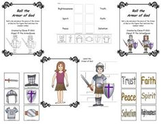 """Armor of God - This is a set of printables that include 2 worksheets, a memory match game, and a """"Roll the Armor Of God"""" game.  It could also be used as a craft, felt visual, other other ways."""