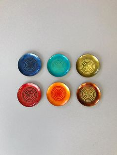 Set of Six (6) Vintage Enamel on Copper Coasters / Pin Dishes Multicolored Concentric Circles