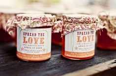 Homemade jam with a cute label and fabric decoration are perfect favors.