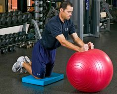 Physio-Ball Roll Out Exercise - A very good beginner level core stabilization exercise. Keep a neutral spine and flat back throughout the entire exercise