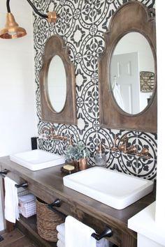 49 Amazing Farmhouse Master Bathroom Remodel Ideas