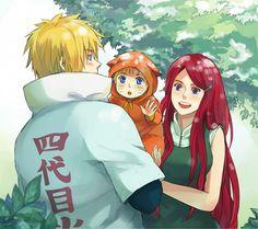 Tags: Anime, Warable, NARUTO, Uzumaki Naruto, Namikaze Minato, Uzumaki Kushina, Mother And Son