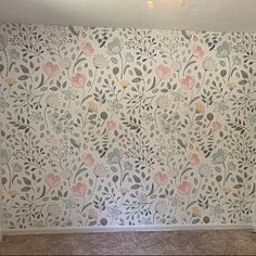 Posie Watercolor Floral Mural Traditional or Removable Watercolor Artwork, Floral Watercolor, Mural Floral, Girls Room Paint, Prepasted Wallpaper, Little Girl Rooms, My New Room, Girl Nursery, Decoration