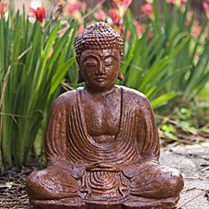 This Black Garden Buddha statue depicts the enlightened Buddha sitting in meditation. Made from volcanic ash, this Buddha sculpture will look magnificent in your garden or simply in a special place in