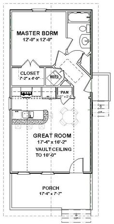 one bedroom house plan. when the kids leave? i would screen in the