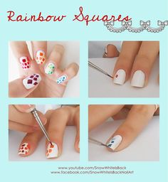 Step by step easy rainbow squares nail art / nails. Follow me on Instagram @ snowwhiteisback