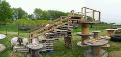 Goat structure. Pallet stairs onto wooden spools
