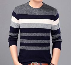 Description: Mens Color Block Round Neck Sweater Fabric: Wool Blend Fit: Slim Fit Color Available: Gray, Blue, Red Size: S, M, M Plus S Shoulder : 17 inch - Sleeve : 23 inch Chest : 41 inch - Length : 27 inch M Shoulder : 13 inch - Sleeve : 24 inch Chest : 3 inch - Length : 28 inch M Plus Shoulder : 18 inch - Sleeve : 24 inch Chest : 44 inch - Length : 28 inch **Measured lying flat, please leave extra room for clothing. There may be slight differences in measurements. Mens Knit Sweater Pattern, Mens Striped Sweater, Striped Polo Shirt, Men Sweater, Mens Winter Sweaters, Mens Fashion Sweaters, Best Smart Casual Outfits, Stylish Mens Outfits, Mens Clothing Styles