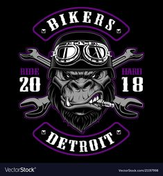Vector illustration with Gorilla Biker. Design of motorcycle path with rider. Black and white version. Gorilla Biker, Detroit, Biker Tattoos, Motorcycle Logo, Biker Shirts, Boy Illustration, Logos, Custom Paint Jobs, Shirt Designs