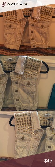 Moto crop denim vest Moto Gold studded cropped and distressed denim vest. Purchased from TopShop NYC NEVER WORN. Topshop Jackets & Coats Vests
