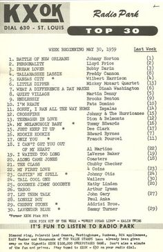 Washington radio station WTOP 1500 AM survey chart for the week of Fun Songs, Music Songs, Love Songs, Top Music Hits, Battle Of New Orleans, Bobby Darin, Tv Show Music, Music Charts, Song List