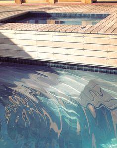 wood deck and waterline tile