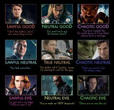 D and D Alignments - Avengers by ~hobbitgirlintardis on deviantART
